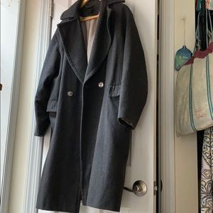 H&M long wool coat grey single button pea coat